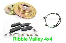 LAND ROVER DISCOVERY 3 FRONT BRAKE DISCS AND PADS DRILLED GROOVED KIT + SENSOR