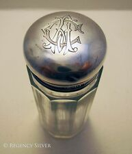 Antique Sterling Silver Top Lid English Glass Jar/Pot/Bottle Edwardian/Victorian