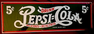 """Ande Rooney's Porcelain Enameled Advertising Sign""""Drink Pepsi-Cola""""New Reduced!!"""