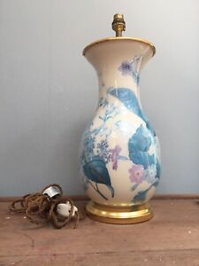"COUNTRY HOUSE BLUE / GOLD FLORAL MOTIF LARGE TABLE LAMP 18"" TALL"