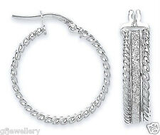9CT HALLMARKED WHITE GOLD MOONDUST ROUND ROPE EDGE 23MM ROUND HOOP EARRINGS