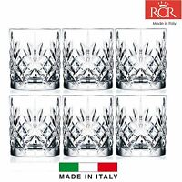 RCR Crystal Melodia Whisky Glasses 230ml Whiskey Tumblers  Set of 6