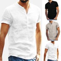 Summer Mens Casual Short Sleeve Dress Shirts Button Collar V-neck T-Shirt Tops