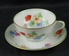 Demitasse Thomas Bavaria Fish Scales Cup Saucer FLowers Double Gold Green Trim
