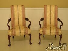 45752EC: Pair HICKORY CHAIR CO. Upholstered Mahogany Library Chairs