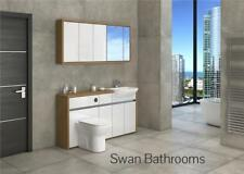 OAK / WHITE GLOSS BATHROOM FITTED FURNITURE WITH WALL UNITS 1600MM