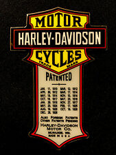 "HARLEY DAVIDSON STICKER ""PATENTED CYCLES"" 2"" X 3"" VERY HEAVY DUTY STICKER THICK!"