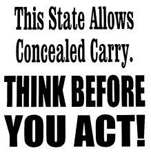 Concealed Carry Gun -Window sticker Car/RV/Quad/Hunting/Gun/Outdoor Vinyl Decal
