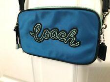COACH F73776 Vale Double Zip Crossbody Pouch Cerulean Blue Multi Msrp 199.00 New