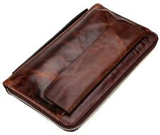 New Vintage Genuine Cowhide Men's Travel Clutch Bag Leather Purse Bifold Wallet