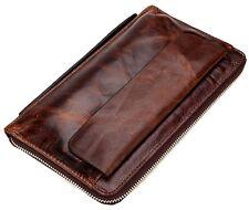 Vintage Genuine Cowhide Leather Wallet Men's Travel Clutch Bag Bifold Purse