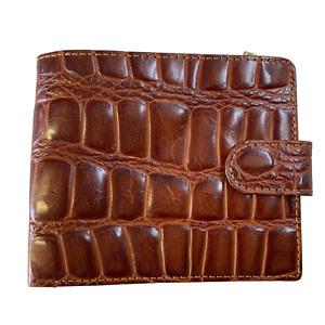 Tony Perotti Italian Leather Brown Croc Wallet