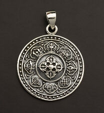 Pendentif tibétain Astamangala Double Vajra Argent 925 4.5g Tibet 25858 L15