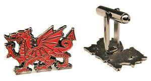 Welsh Dragon Cufflinks Gift Pouch Brand New 30Mm Mens Gift Birthday