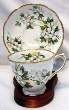 "Royal Albert Bone China England ""White Dogwood"" Pattern Tea Cup & Saucer"