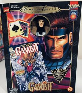 """Marvel Famous Covers Gambit 8"""" X-Men Poseable Figure Cloth Uniform Coat ToyBiz"""