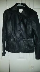 Vakko Sport Womens Button Up 100% Leather Shell Jacket Size M