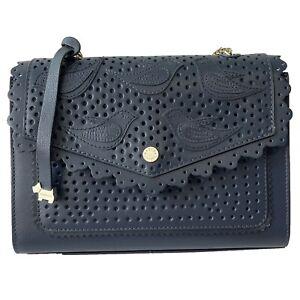 Radley Leather Medium Shoulder Strap Bag Navy Blue Birds Selby Street