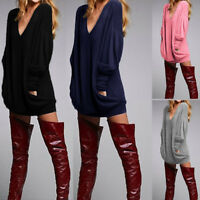 Oversized Women V Neck Long Sleeve Tops Jumper Sweater Dress Casual Sweatshirt