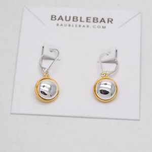 baublebar jewelry high polished two tone gold silver plated leverback earrings