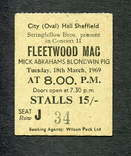 Original Early 1969 Fleetwood Mac Blodwyn Pig concert ticket stub Sheffield Uk