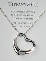 "Tiffany & Co Sterling Silver Elsa Peretti 27mm Open Heart Pendant 18"" Necklace"