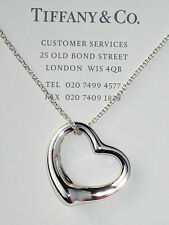 "Tiffany & Co Elsa Peretti 27mm Open Heart Pendant Sterling Silver 18"" Necklace"