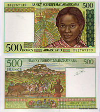 MADAGASCAR billet neuf 500 FRANCS Pick75 VILLAGE BERGER ZEBUS JEUNE FILLE 1994