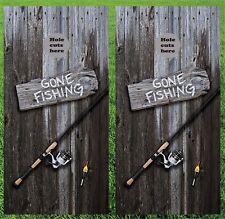 "Fishing Gone Fishing Cornhole Wrap Decals Bag Toss 3M Vinyl 24x48"""