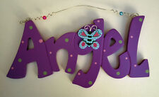 Angel Bright Fun Purple Plaque Sign For Girls Bedroom Wood Butterfly Motif New