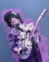 "Prince Purple Rain Era Abstract Palette Knife Music Art Original Painting 14"""