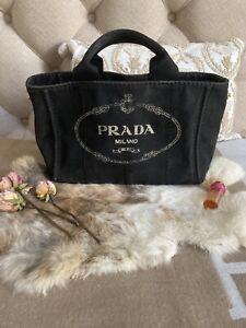 Authentic PRADA Mini Canapa Vintage Canvas handbag Tote black $1200 Bergdorfs