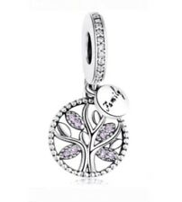 RARE Purple Family Tree Real Sterling Silver Charm fits pandora gift