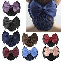 Women Satin Bow Rhinestone Barrette Hair Clip Cover Net Bun Bowknot Fashion