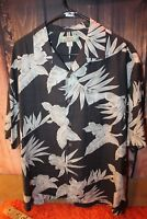 Tommy Bahama Dark Gray Silk Tropical Floral Large Men's Shirt