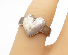 Love Heart Band Ring Sz 7- R14599 Davian 925 Silver - Vintage Smooth Modernist