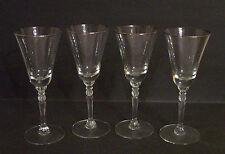 "4 Riekes Crisa Platino Pattern 7"" Crystal Wine Glasses w/ Platinum Trim"