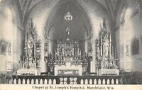 Marshfield Wisconsin~St Joseph's Hospital~Chapel Interior~1910 B&W Postcard