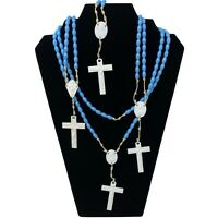 Vintage Lot of 4 Rosaries Blue Plastic Bead Religious Prayer Cross Crusifix