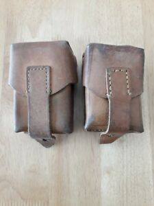2 Vintage Leather Mauser Cartridge Ammo Pouches