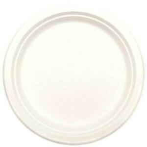 """Natural Sugar Cane White Solid Color Eco Party Bulk 9"""" Paper Dinner Plates"""