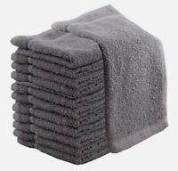 Pack OF 12 HIGH QUALITY 100% COTTON FACE CLOTH TOWELS SILVER & GREY