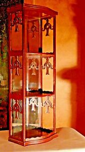 ANTIQUE CHINESE WOOD HANGING HAND CARVED MIRRORED 3 SECTION WALL DISPLAY SHELF