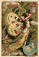 6 chromo litho set c1890 LIEBIG butterfly  papillons vlinder ART style MUCHA VG