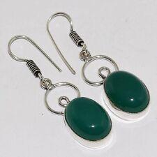 "Silver Plated Earrings 1.8"" Va-12070 Green Onyx 925"