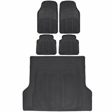 5 PC Black Front Rear Rubber Car Floor Mats and Cargo Trunk Liner Auto Truck SUV