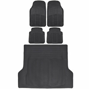 Rubber Car Floor Mats 5 PC Black Front Rear and Cargo Trunk Liner Auto Truck SUV
