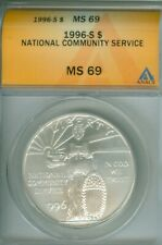 1996 S National Community Service Silver Dollar ANACS MS69 FREE S/H (1925110)
