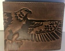 Fossil Men's Bifold Wallet American Eagle Brown Leather Flip ID Outdoorsman NWT