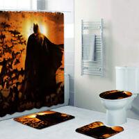 Batman Bathroom Rugs Shower Curtain 4PCS Non-Slip Foot Mat Toilet Lid Cover Mats